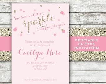 Pink and Gold Invitation - Sparkle Invitation - She Leaves a Little Sparkle Wherever She Goes - Girl - Glitter Invite - Printable Invitation