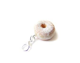 Powdered Doughnut Donut Charm - Miniature Food Jewelry - Powdered Sugar Doughnut Charm, Polymer Clay Doughnut, Food Stitch Markers