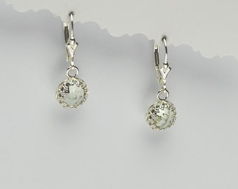 Angeline Quinn Vintage Inspired Green Amethyst and Sterling Silver Lever Back Earrings