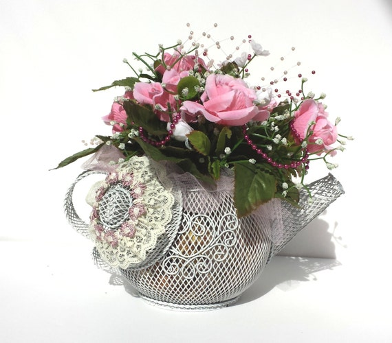 Floral pink pearl teapot centerpiece by fairylace designs