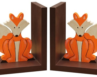Wooden Fox Bookends - Brown Woodland Fox Nursery Bookends