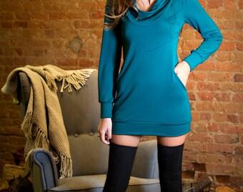 Sweater - Women - Long sleeves - Comfortable - Jersey - Pockets - High collar neck - Screen print - Scandinavian tunic Teal blue