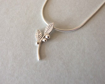 Delicate Silver Leaves and Berries Necklace - silver necklace, valentine's day gift , gift for her , leaves necklace