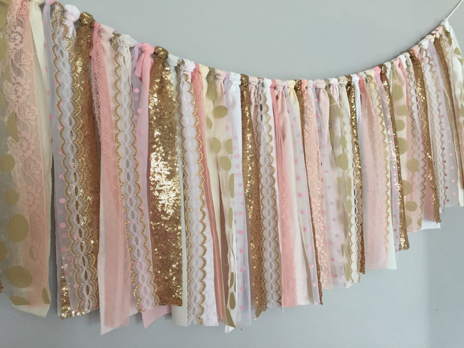 Blush Pink & Gold Sequin Fabric Garland Banner by ohMYcharley