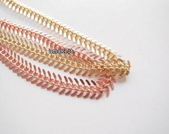 1 meter, Fish bone, Brass chain, LB00332