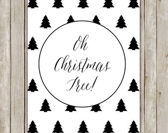 8x10 Oh Christmas Tree Art, Holiday Print, Christmas Print, Poster, Holiday Wall Art, Holiday Decor, Instant Download, Digital Art Print