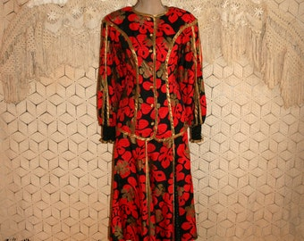 80s Dress 1980s Long Sleeve Designer Dress African Kente Skirt Set Jeanne Marc Vintage Designer Size 6 Size 8 Small Medium Womens Clothing