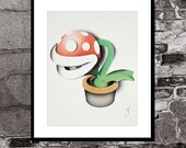 Piranha Flower Layered Paper Art Print - Super Mario Brothers Inspired - Video Game Art Poster - FadeGrafix
