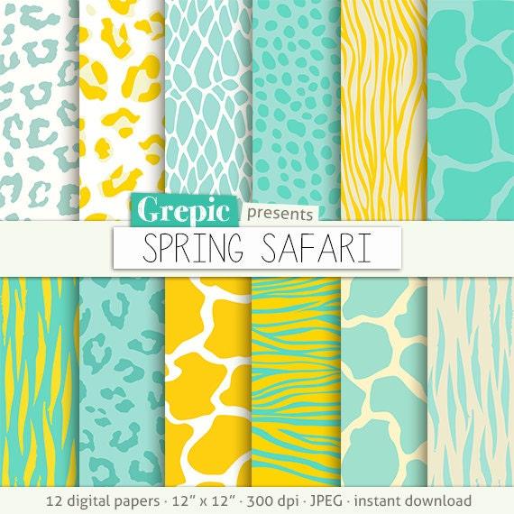 "Animal print digital paper  ""SPRING SAFARI"" yellow green zebra print ... 9f0c1521b"