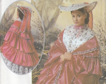 Simplicity 5444 Civil War Ruffled Mantle Shawl Cloak and Broad Brim Garden Hat, Gone With the Wind, Tara, Southern Belle