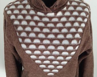 Brown sweater and ecru, Vintage 70 years.