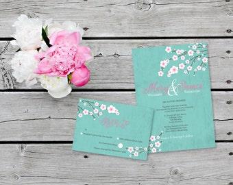 Sakura Wedding Invitation Cherry Blossom  Illustration for Spring Wedding Invitation in Blue