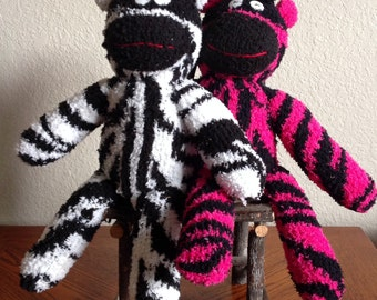 Handcrafted Fuzzy Sock Zebra - Assorted Colors