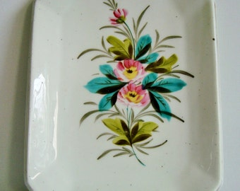 Vintage floral rectangle vanity / sandwich tray