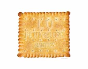 Petits-Beurre, Butter Cookies // Food Illustration // Food art print