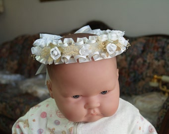 Baptism Flower crown WHITE - flowers girl crown white # 9, Halo, Wreath, Garland, Baby Crown, Corona, Christening, Blessing Day Wear