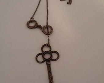 Key necklace, Brass Key Lariat, Lariat Jewelry, Lariat Key necklace, Lariat Handcuff Jewelry, Brass handcuff,  handcuff and key necklace