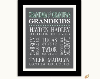 Grandparent Gift - Grandma Grandpa Christmas Gift - Personalized Grandchildren Birthdays Sign Wall Art -  Choose Any colors - Gray - Mint