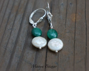 Emerald Earrings Sterling Silver Emerald Drops Gemstone Earrings May and June Birthstones Holiday Gifts
