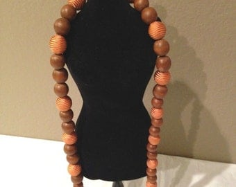 "34"" Vintage Wood Bead& Fabric Necklace"