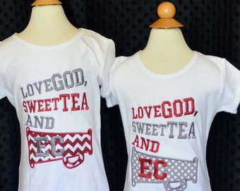 Personalized Name your Team  Love God Sweet Tea & The SEC Football  Applique Shirt or Onesie