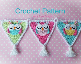 SLEEPY OWL BUNTING Garland - Owl crochet pattern  Owl applique pattern Crochet applique Owl pattern Owl Garland By Kerry Jayne Designs No.15