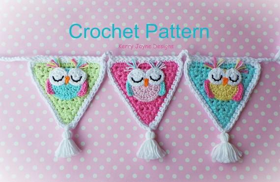 Crochet Owl Baby Bunting Pattern : SLEEPY OWL BUNTING Garland Owl crochet by KerryJayneDesigns