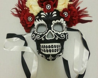Day of the Dead Mask/ Day of the Dead Headdress/ Dia de los Muertos Mask/ Halloween Mask/ Skeleton Mask/ Sugar Skull Mask/ Sugar Skull