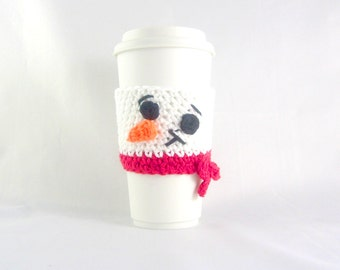 Snowman Travel mug sleeve / Red scarf  / coffee mug cozy / travel cup sleeve / cup cozy / travel mug cozy / coffee cup sleeve
