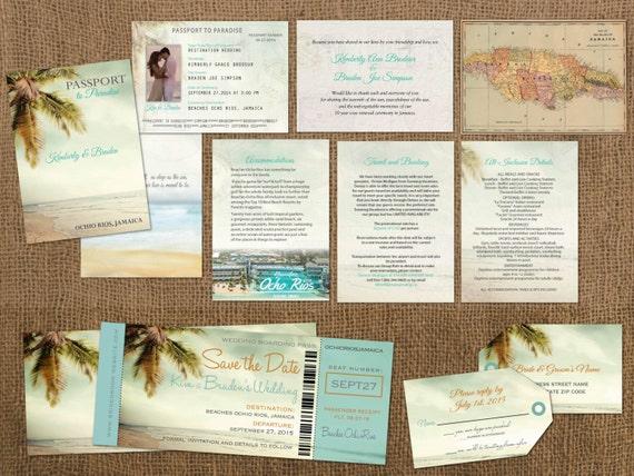 Destination Wedding Invitations Passport: Vintage Passports Boarding Pass Palm Tree Destination Set: