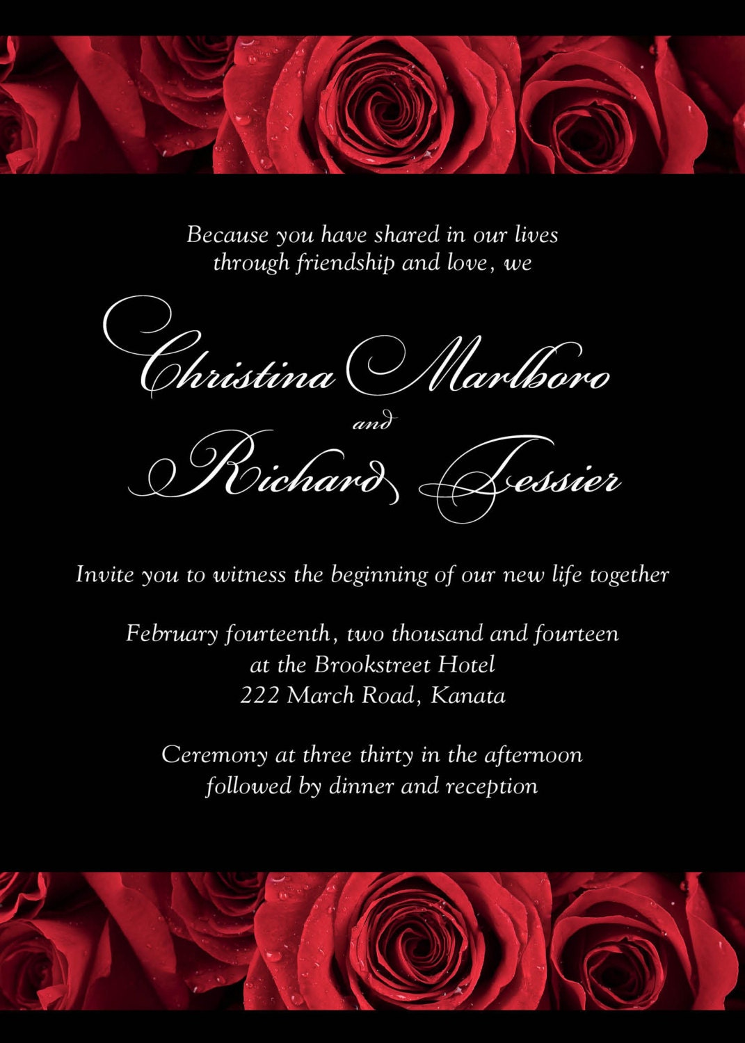 Red Rose Invitations For Your Wedding Deep Crimson With