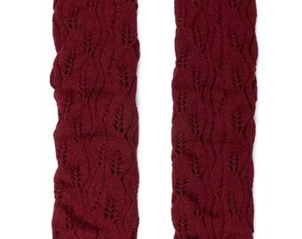 Women Knit Lace Long Button Leg Warmers, Boot Socks, Leg Sweaters, Cable Knit Socks-Maroon