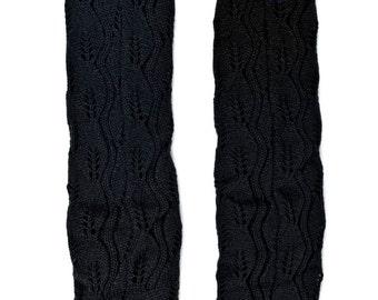 Women Knit Lace Long Button Leg Warmers, Boot Socks, Leg Sweaters, Cable Knit Socks-Black
