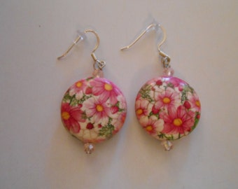 Round Pink Flowered Earrings Item No. 19 Perfect for Easter or Mother's Day