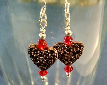 Flowered Copper Heart Bead Earrings Perfect for Valentine's Day Item No. 48