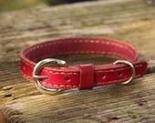 Small Pink Leather Dog Collar
