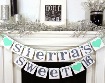 SWEET 16 BANNER Sign Custom Name Personalized Sweet 16 Birthday Banner Photo Prop Birthday Party 16th Birthday Party Supplies Party Garland