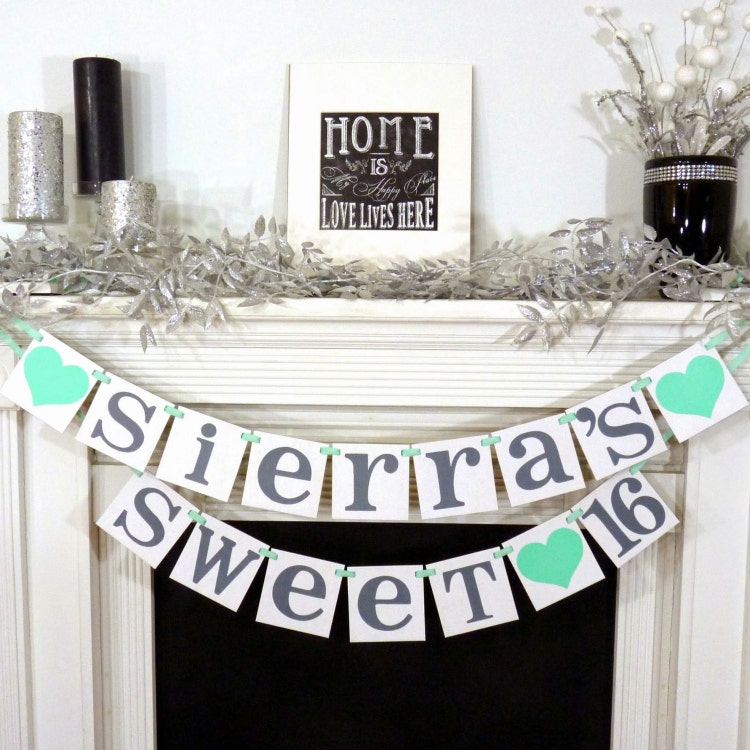 SWEET 16 BANNER Sign Custom Name Personalized By BannerCheerJR