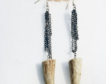 Real red deer antler tip earrings with gunmetal chain - available as made to order in other colours