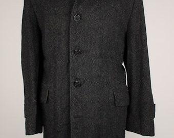Vintage TWEED The Black Devil Dark Grey Herringbone Large Mens Coat Jacket Overcoat