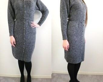 VTG St. John Grey Knit Sweater Dress Size S 4 / 6 Marie Gray 80s Wool Sheath