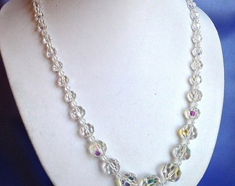SPARKLY Faceted Gaduated CRYSTAL NECKLACE