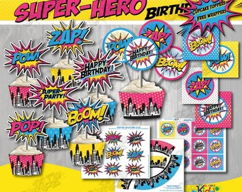 "Instant Download! Girl SUPERHERO Birthday Party Cupcake Toppers and cupcake wrappers, Superhero Party Decoration 2"" Party Circles ONLY"