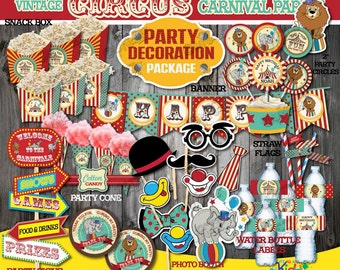 Circus Birthday Party Decoration Package, non-personalized Vintage Circus Party, Printable Carnival Party Decoration, Instant Download!