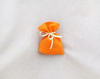 Favor bags, Linen orange bags, text, SET of 100 wedding favors, orange favor bags, linen favor bags, rustic wedding favor bag