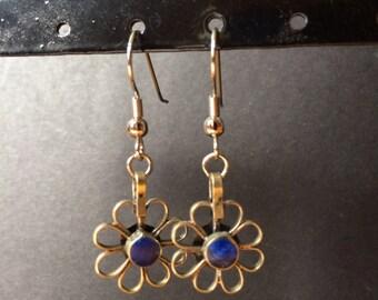 Lapis Flower Earrings
