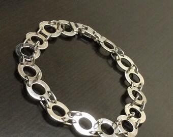 14K White Gold Link Bracelet - 14K Gold Bracelet - Handmade Bracelet - Gold Circle Link Bracelet - Modern Gold Bracelet - Fine Gold Jewelry