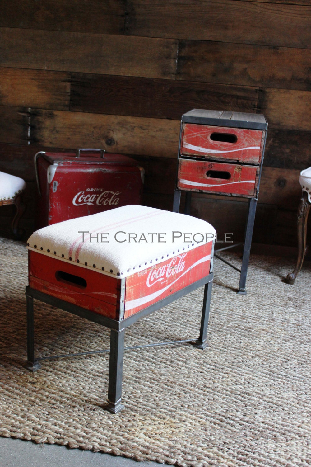 Coca cola wood crate footstool with upholstered antique grain for Wooden soda crate ideas