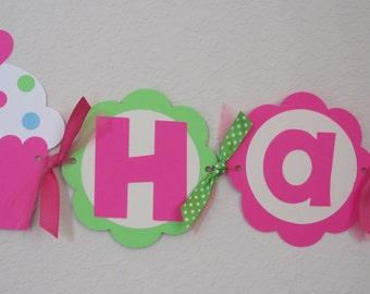Cupcake Birthday Party - Happy Birthday Banner with Age