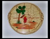 Vintage Mexican California Monterey Crackle Wooden Handpainted Serving Tray
